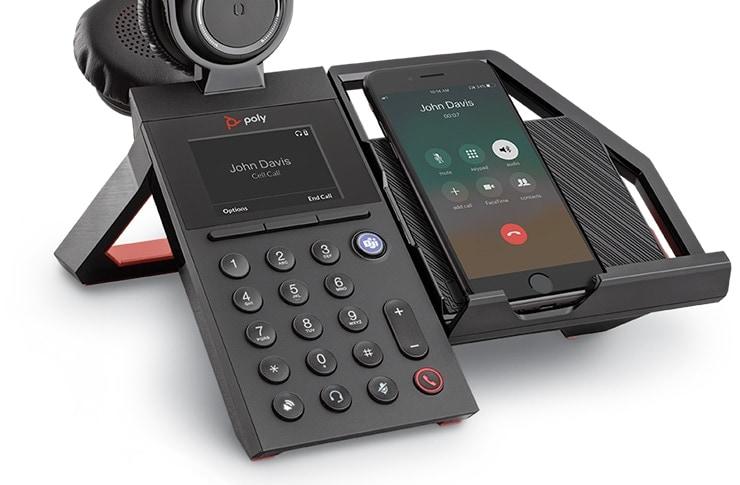 poly elara60 headset with mobile phone station closeup